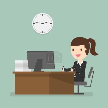 Illustration pour Femme d'affaires travaillant à l'heure de bureau - image libre de droit