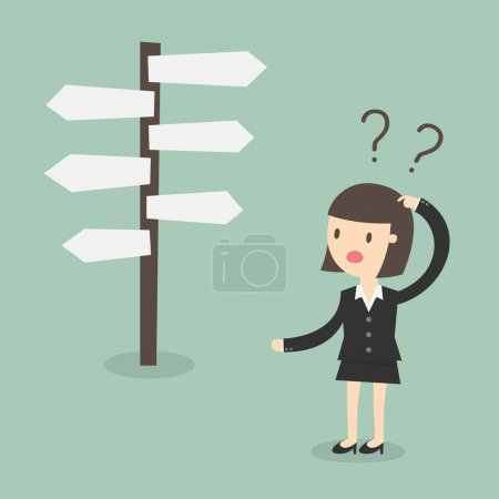 Illustration for Confused, Business woman in front of a choice - Royalty Free Image