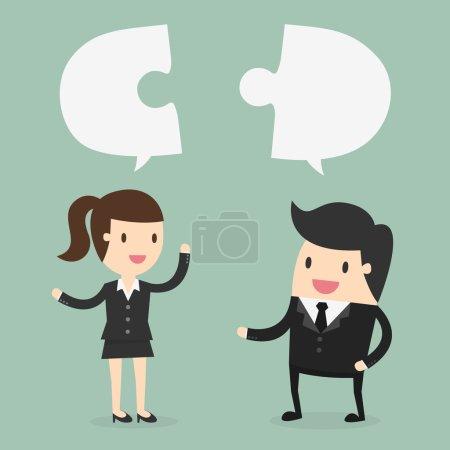 Illustration pour Homme d'affaires et femme d'affaires discuter de leur travail - image libre de droit