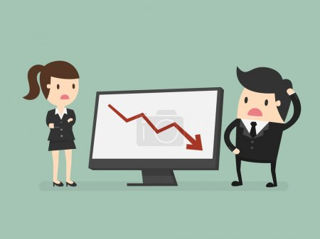 Illustration for Business people looking at a bad results chart - Royalty Free Image