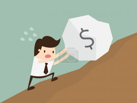 Business man pushing a huge stone with dollar sign...