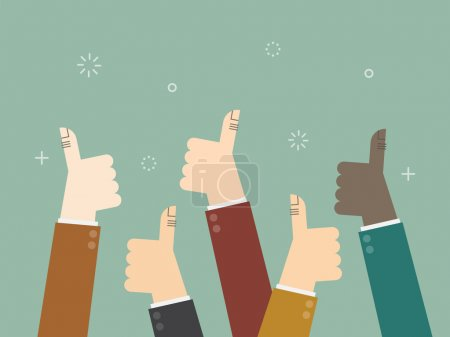Illustration for Cheering business people holding many thumbs thumbs up - Royalty Free Image