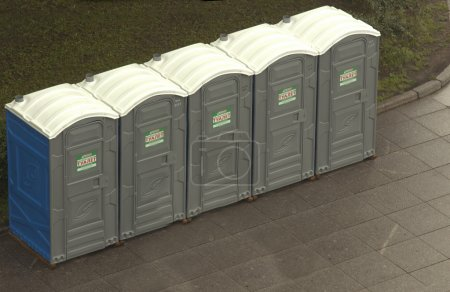 Photo for Portable Toilets Installation In The Park - Royalty Free Image