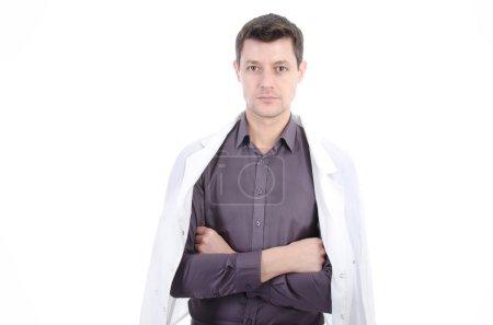 Photo pour Le docteur en habit blanc. Sur un fond blanc. - image libre de droit