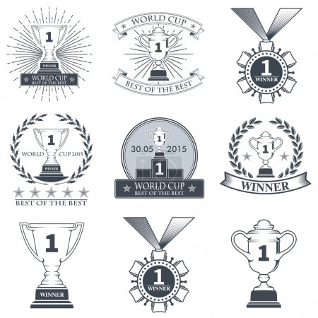 Winner logos, badges, emblems and design elements. Stock vector.
