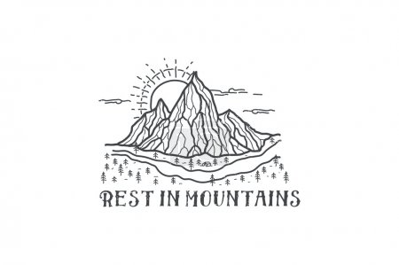 Illustration for Vector camping emblem  on mountain landscape background. - Royalty Free Image