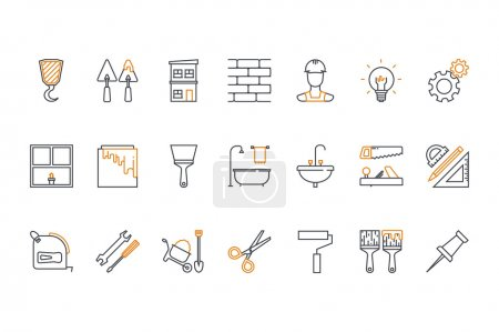 Line icons set- construction, home repair tools. Stock vector.
