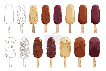 Set of vector hand drawn ice cream illustrations. Eskimo pie isolated on white. Ice lolly. Popsicle cake. Chocolate-coated cake with boiled condensed milk, nuts, caramel, waffles, cornflakes