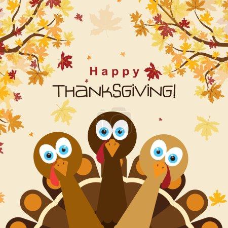 Illustration pour Modèle de carte de vœux avec une dinde de Thanksgiving heureuse, illustration vectorielle - image libre de droit