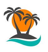 Palm trees sun and ocean