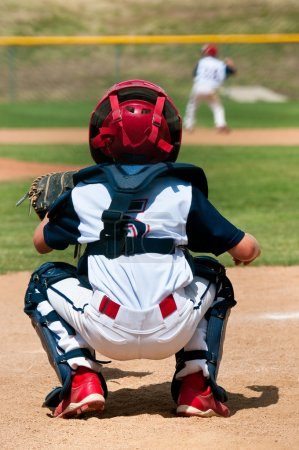 Young little league catcher