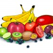 Lots of ripe tropical and exotic fruits together l...