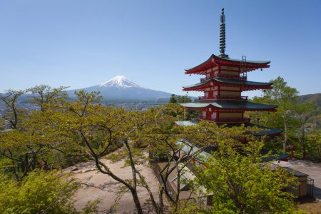 Japanese Chureito pagoda and Mountain Fuji