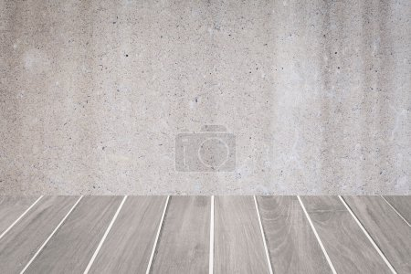 Wood floor and concrete wall