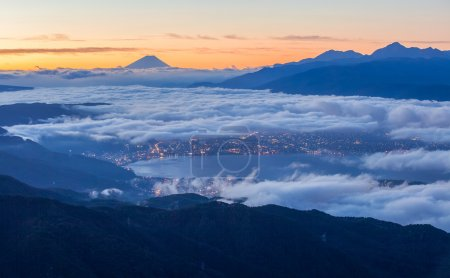 Beautiful sunrise view of Mountain Fuji