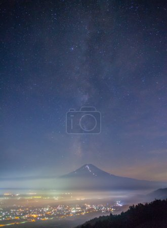Summer night landscape of Mountain Fuji