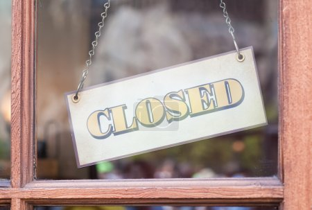 Photo for Closed sign board in front of shop - Royalty Free Image