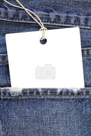 Blue jeans detail with blank white tag
