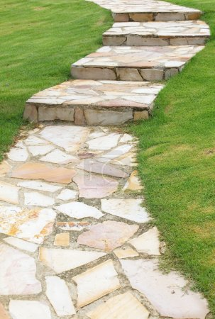 Natural brown stone pathway