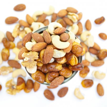 Mix of nuts close-up