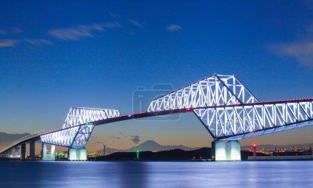 Photo for Tokyo gate bridge and Mountain Fuji at twilight time - Royalty Free Image