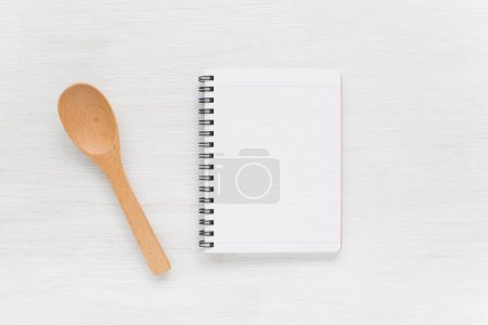 Photo for Empty notebook and kitchen utensils for food recipe - Royalty Free Image