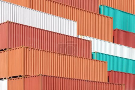 Photo for Colorful stack of containers shipping at dockyard - Royalty Free Image