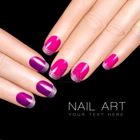 Nail Art. Luxury Nail Polish. Glitter Nail Stickers