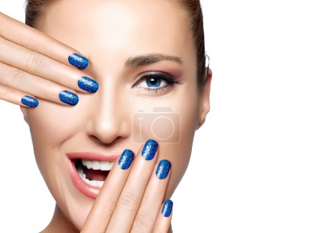 Happy People. Beautiful Girl Laughing. Nail Art