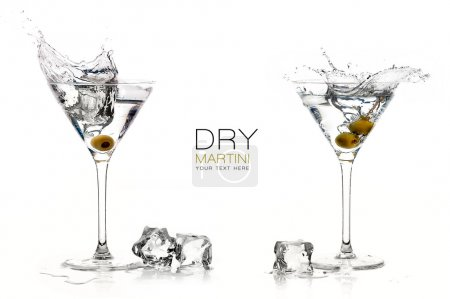 Photo for Two dry martini glasses with big splashes. Cocktails isolated on white background. Splash. Template design with sample text - Royalty Free Image