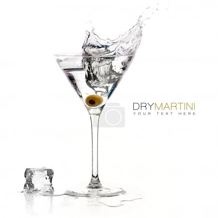 Photo for Dry martini cocktail with big splash isolated on white background. Design template with sample text - Royalty Free Image