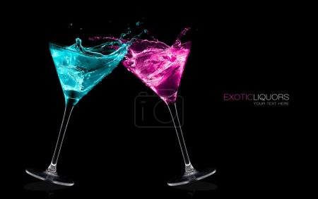 Photo for Cocktail glasses with long stems full of colorful liquors making a toast splashing out, close-up isolated on black, with sample text. Party concept. Colorful spalshes. Template design - Royalty Free Image
