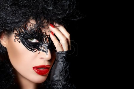 High Fashion Model Wearing Creative Masquerade Eye Makeup