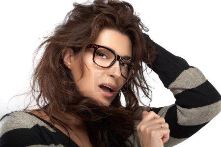 Beauty Fashion Model Girl With Eyeglasses. Cool Trendy Eyewear