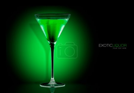 Cocktail Glass with Mint Liquor Drink. Template Design