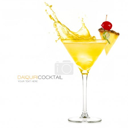 Photo for Frozen pineapple daiquiri cocktail with big splash isolated on white background. Design template with sample text - Royalty Free Image