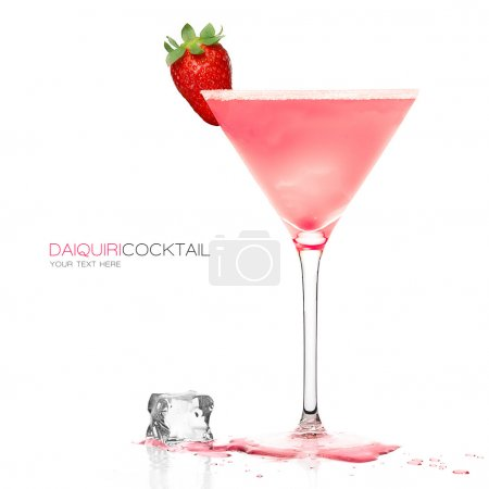 Photo for Daiquiri frozen cocktail in a stylish martini glass garnished with fresh strawberry and ice cube on the table, isolated on white background. Design template with sample text - Royalty Free Image