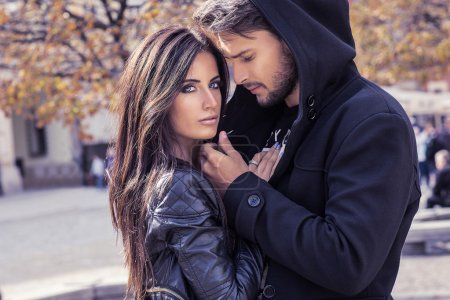Photo for Autumn portrait of sexy couple in the city - Royalty Free Image