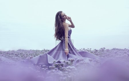 Photo for Sensual woman in blue dress on hte field - Royalty Free Image