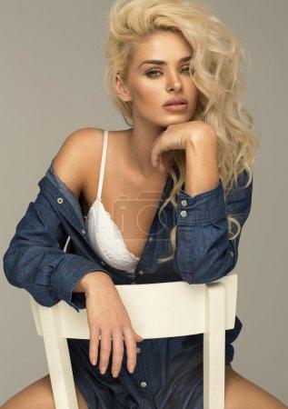 Unusual blonde woman in lingerie