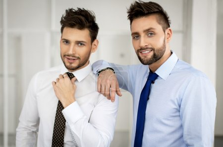 Two men fashion models posing