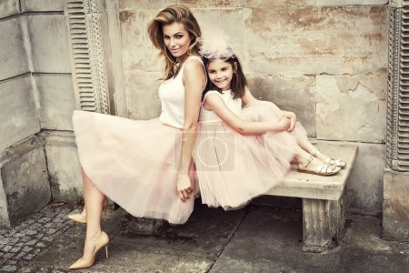 Photo for Mother and daughter in same outfits weared tutu skirts - Royalty Free Image