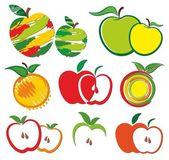 Set of logos of apples and oranges