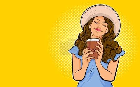 Illustration pour Belle jeune femme boire du café ou du thé mode de vie sain Pop art rétro style comique - image libre de droit
