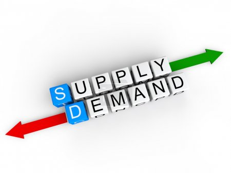 "Photo for 3D render of white cubes with alphabets arranged to form the word ""supply, demand"" along with red and green arrows in opposite direction. - Royalty Free Image"