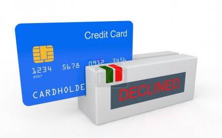 Photo for 3d render of credit card with scanner showing declined message - Royalty Free Image