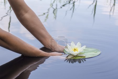 woman holds in hands beautiful water lily in a lake in the woods