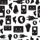 Universal vector fashion graffiti seamless pattern Hand drawing repeated electrician instrument design elements in black white Music cassette lamp plug for package wallpaper