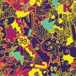 Colorful seamless pattern. Graffiti doodles street...