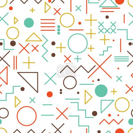 Illustration for Seamless abstract pattern, flat vector of geometric colorful shapes and figures - Royalty Free Image